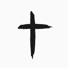 Christian Cross Drawn By Hand With A Rough Brush. Grunge Icon, Symbol, Logo. Sketch, Watercolor, Paint, Graffiti.