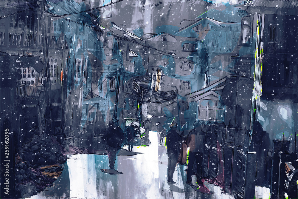 Digital painting of walking street in town, dark tone image