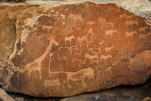 Prehistoric Petroglyphs At Twyfelfontein Archaeological Site In Namibia, Africa