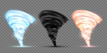Set Of Black, Blue And Red Tornado. Rotating Twister.