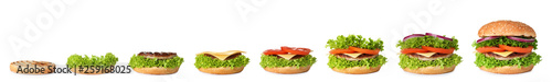 Staande foto Snack Cooking delicious burger on white background. Step by step recipe