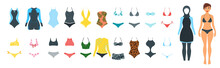 Vector Set Of Female Swimsuit