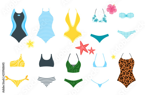 Fototapeta Vector set of female swimsuit