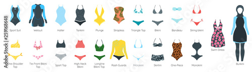 Fotografie, Obraz Vector set of female swimsuit