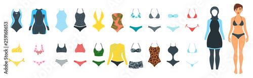 Obraz Vector set of female swimsuit - fototapety do salonu