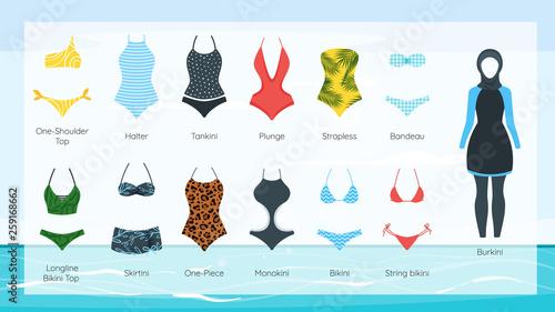 Fototapeta Vector set of female swimsuit