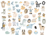 Fototapeta Fototapety na ścianę do pokoju dziecięcego - Big set of wild cartoon animals pets. Cute handdrawn kids clip art collection. Vector illustration.