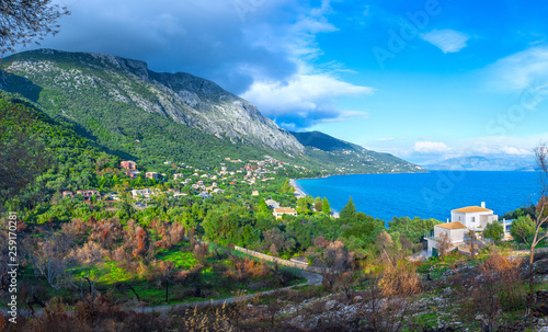 Wall Murals Northern Europe Beautiful summer panoramic seascape. Green slopes in close bays with crystal clear azure water. Coastline of north part Corfu island, Ionian archipelago, Barbati Beach, Mparmpati, Greece.