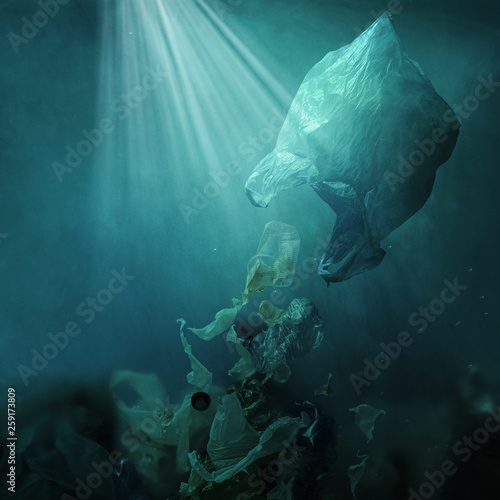 Fotografie, Obraz  Floating plastic bag dispersing waste and polluting the ocean