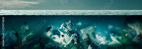 Fotografie, Obraz  Plastic toxic waste polluting ocean water