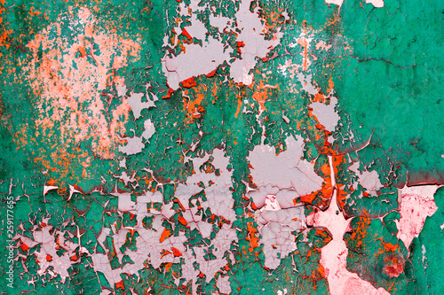 Fototapety, obrazy: part of an old wall with peeling paint. abandoned building. architecture.