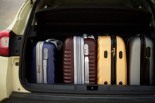 Opened Car Trunk Full Of Suitcases, Luggage, Baggage. Summer Holidays, Travel, Trip, Adventure Concept.
