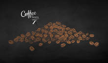 Vector Chalk Drawn Sketch Of Pile Of Coffee Beans