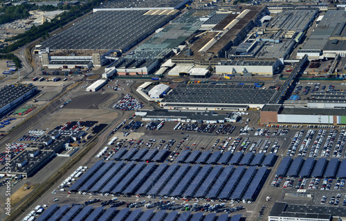 Leinwanddruck Bild - PackShot : Flins; Aubergenville, France - july 7 2017 : aerial picture of the town