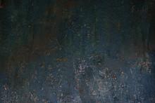 Dark Worn Rusty Metal Texture Background Wall