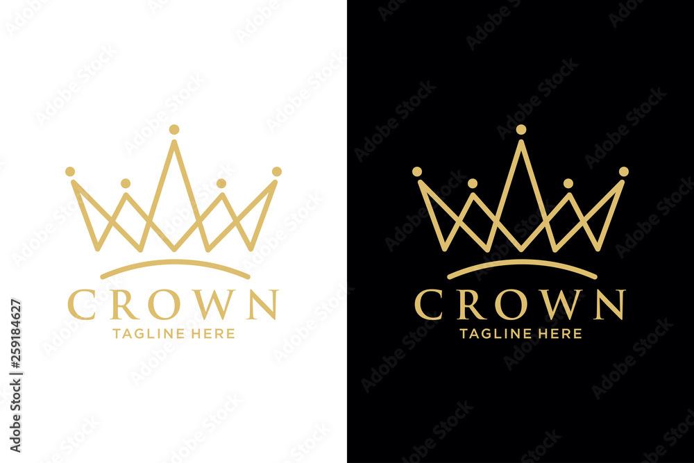 Fototapeta Geometric Vintage Creative Crown abstract Logo design vector template. Vintage Crown Logo Royal King Queen concept symbol Logotype concept icon.