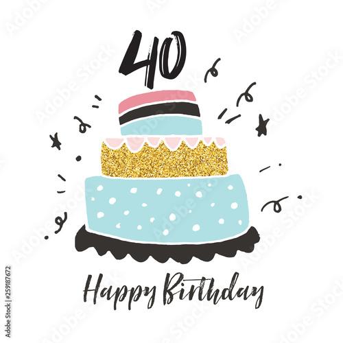 40th birthday hand drawn cake birthday card Fototapet
