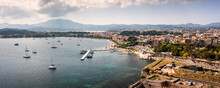 Panorama Of Corfu's Old Town And Harbor In Greece