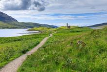 Path Through Field To Ardvreck Castle In Scotland