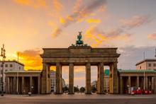 Brandenburg Gate At Sunrise In Berlin, Germany