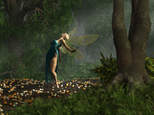 A Winged Fairy In A Blue Dress...