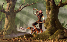 A Woman Wearing A Black Outfit With White Fur Trim Carries A Spear And Is Accompanied By A Pair Of Hunting Dogs. Sighting Her Quarry, The Huntress Sounds Her Horn. 3D Rendering