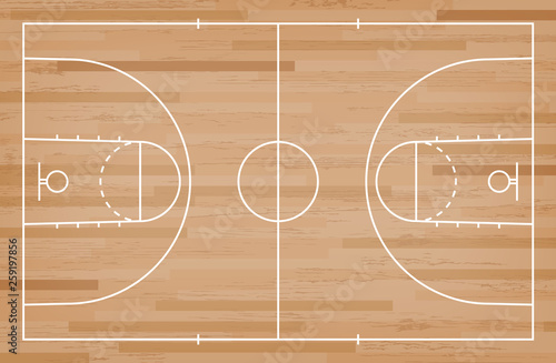 Fotomural  Basketball court floor with line on wood pattern texture background