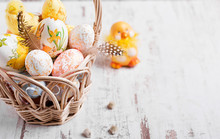 Easter Background. Easter Eggs And Flowers