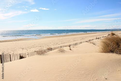 Fototapeta Amazing Sandy beach in Camargue region, in the South of France obraz