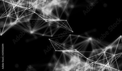 Abstract polygonal neural space background with connection structure. 3d rendering, illustration - 259202014