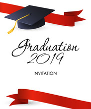 Graduation 2019 Invitation Design. Mortarboards With Gold Tassel And Red Ribbons. Illustration Can Be Used For Banners, Posters, Ceremony Ad