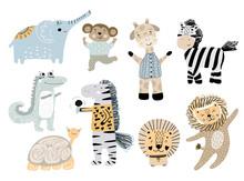 Big Set Of Wild Cartoon African Animals. Cute Handdrawn Kids Clip Art Collection. Vector Illustration.