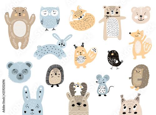 Big set of wild cartoon forest animals. Cute handdrawn kids clip art collection. Vector illustration