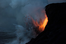 Lava Entering Into Ocean From ...