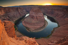 View Of Horseshoe Bend In Colorado River During Sunset