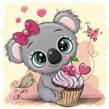 Greeting Card Cartoon Koala Wi...