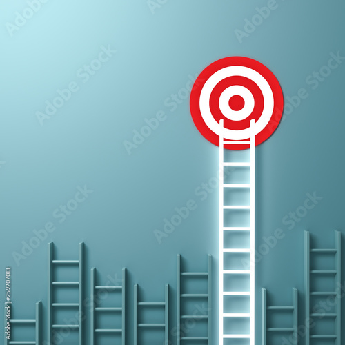 One longest neon light ladder reaching for the bright goal target dartboard the business creative idea concepts on green pastel color wall background with shadows 3D rendering Wall mural
