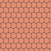 Orange Seamless Pattern With Round Tiles , Fairy Mermaid Tail Or Scales Of The Dragon Or Fish Scales , Vector Illustration