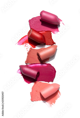 Canvastavla Creative concept photo of cosmetics swatches beauty products lipstick on white background