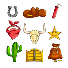 Wild West With Cowboy Accessories Set Isolated On White Background