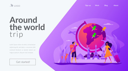 Traveling the world, worldwide adventure, around the world trip concept. Website interface UI template. Landing web page with infographic concept creative hero header image.