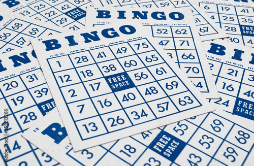 Bingo game cards. Bingo numbers with blue and white background. Canvas Print