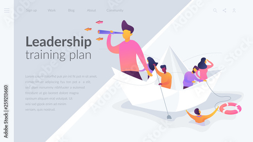Business leadership, managing skills, leadership training plan concept.Website interface UI template. Landing web page with infographic concept creative hero header image.