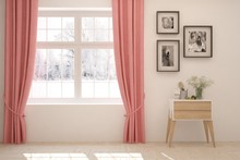 White Stylish Empty Room With Coral Curtains And Winter Landscape In Window. Scandinavian Interior Design. 3D Illustration