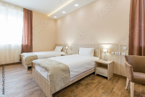 Fototapety, obrazy: Interior of a double bed hotel bedroom