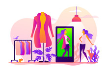 Virtual Fitting Room, Online Dressing, E-commerce Clothing Room Concept. Colorful Vector Isolated Concept Illustration With Tiny People And Floral Organic Elements. Hero Image For Website.