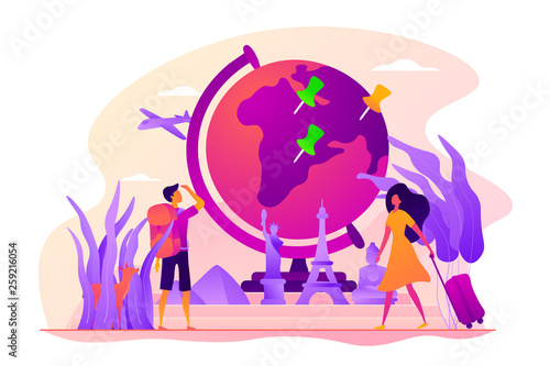 Fototapeta Traveling the world, worldwide adventure, around the world trip concept. Colorful vector isolated concept illustration with tiny people and floral organic elements. Hero image for website. obraz