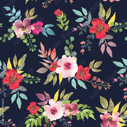 Watercolor Floral Seamless Pattern For Wallpaper Prints