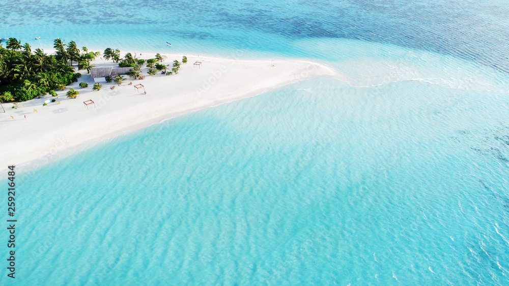 Fototapety, obrazy: Beautiful aerial view of Maldives and tropical beach . Travel and vacation concept