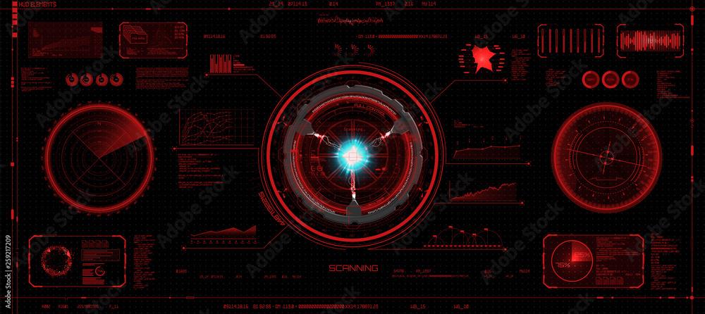 Fototapeta Head-Up Interface set in HUD style, Futuristic elements of red color (space, dashboard, hologram, spaceship, medicine, finance) Hud vector set